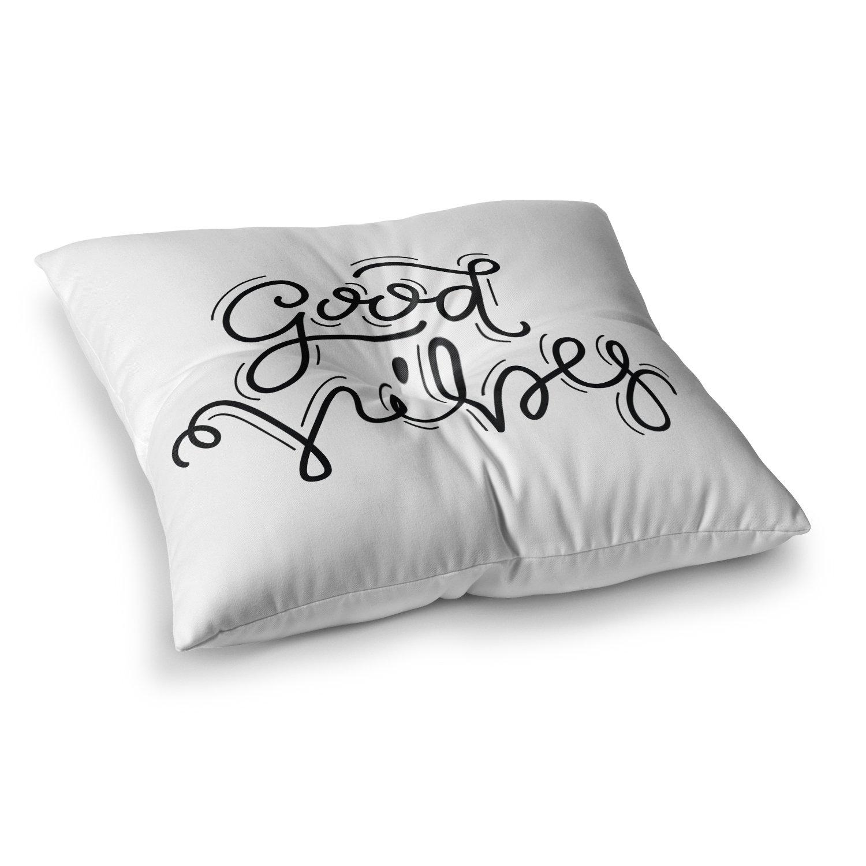 Kess InHouse Busy Bree Good Vibes Black White 26 x 26 Square Floor Pillow