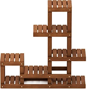 Furinno FG18451 Tioman Hardwood Patio Furniture Outdoor Flower Stand in Teak Oil, Natural