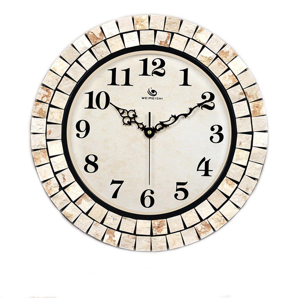 ヨーロッパの創造的な居間の寝室の入り口の時計、ファッションの自然材料消音掃引の壁時計、パーソナライズされた円形のガラスのミラーの壁時計 (Color : B) B07FQ8MXPX B B