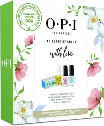 OPI 2021 Mothers Day Gift Set - Nail Envy Bubble Bath 15ml, Pro Spa Cuticle Oil, Start to Finish, OPI Block File, pink, 60 g