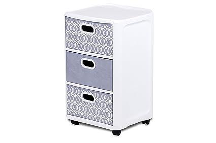 Home Logic Grey Paisley Storage 3 Drawer Fabric Cart Large White Grey  sc 1 st  Amazon.com & Amazon.com: Home Logic Grey Paisley Storage 3 Drawer Fabric Cart ...