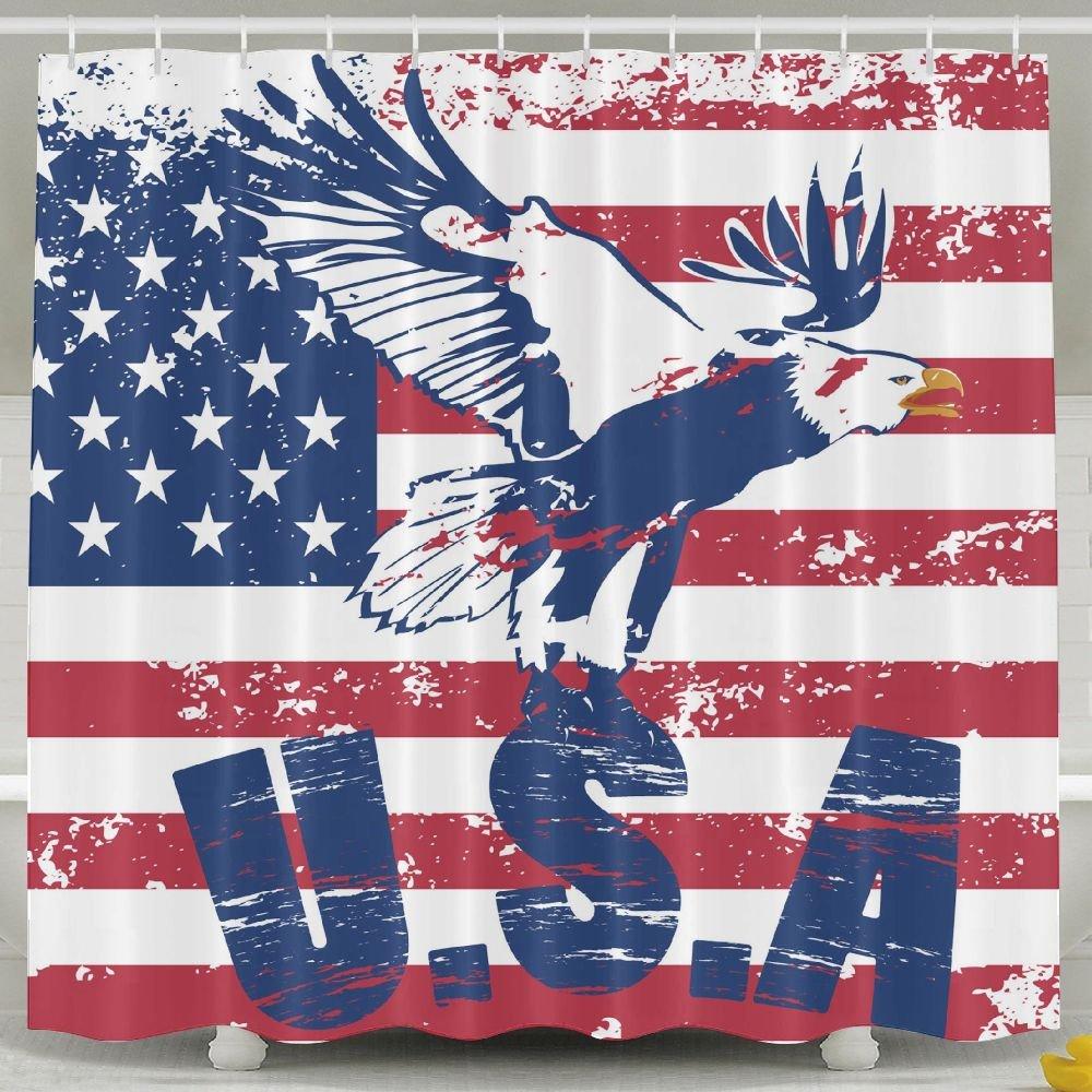 BINGO FLAG Funny Fabric Shower Curtain USA Flag With Flying Eagle Waterproof Bathroom Decor With Hooks 60 X 72 Inch