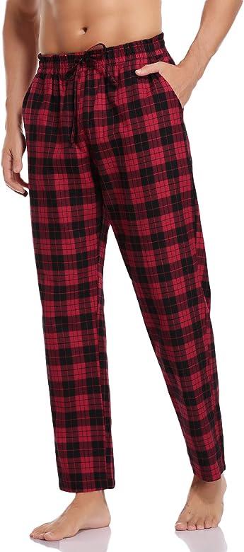 Hawiton Pantalones de Pijama Hombre Algodón Largo Pantalones de ...