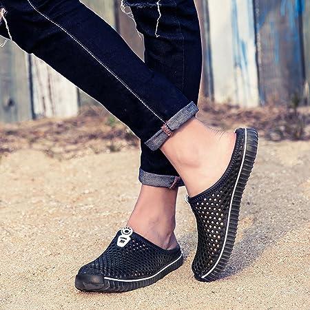 Fannyfuny_Zapatos Hombres Zuecos Hombre Zuecos para Unisexo Zapatillas de Trabajo Zapatos Mujeres Sandalias Verano Malla Ponerse Zapatillas Antideslizante Playa para Caminar Enfermería Zapatos 36-45