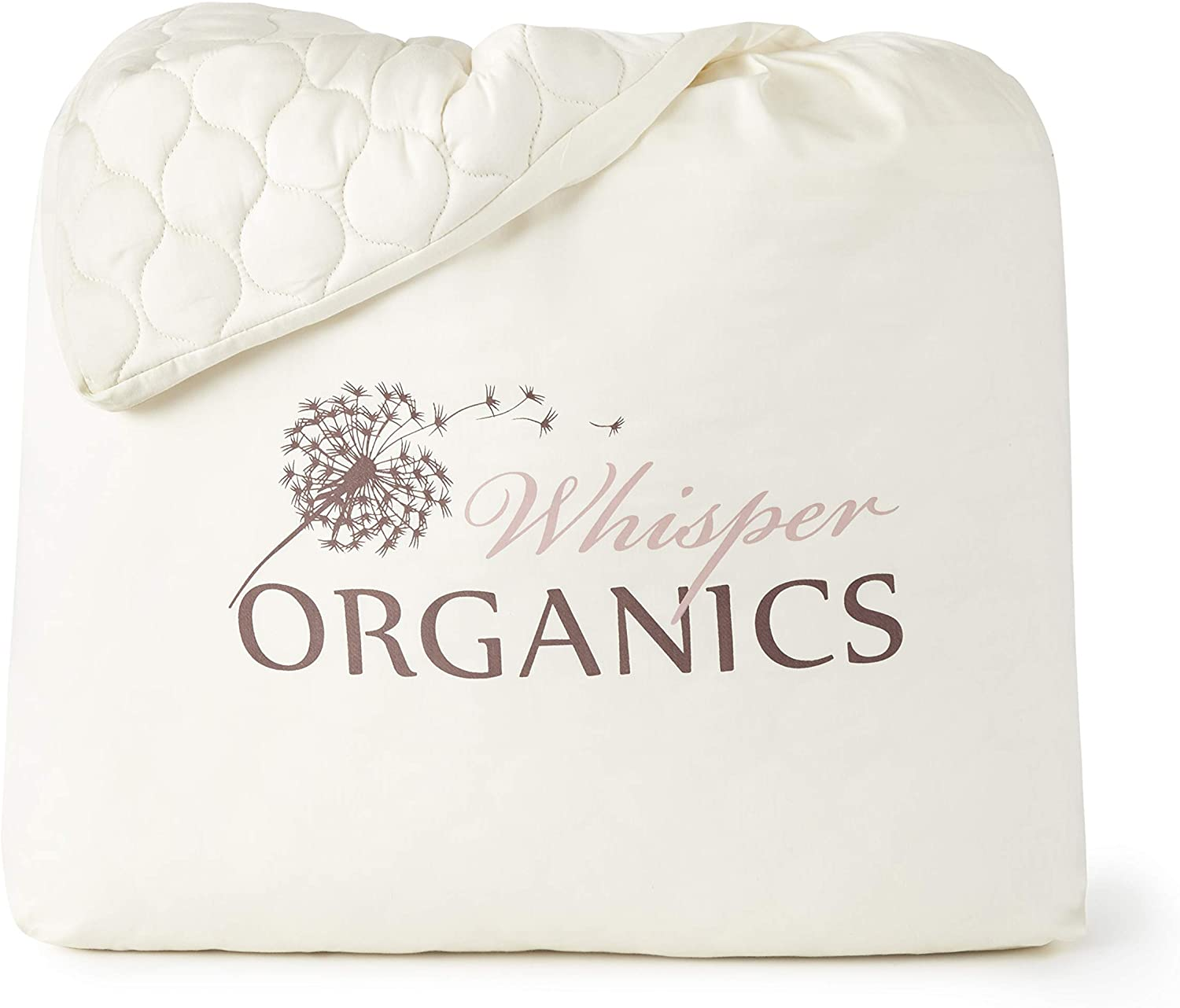 GOTS Certified Breathable Mattress Protector Whisper Organics 100/% Organic Cotton Quilted Fitted Mattress Pad Cover 17 Deep Pocket Queen Size