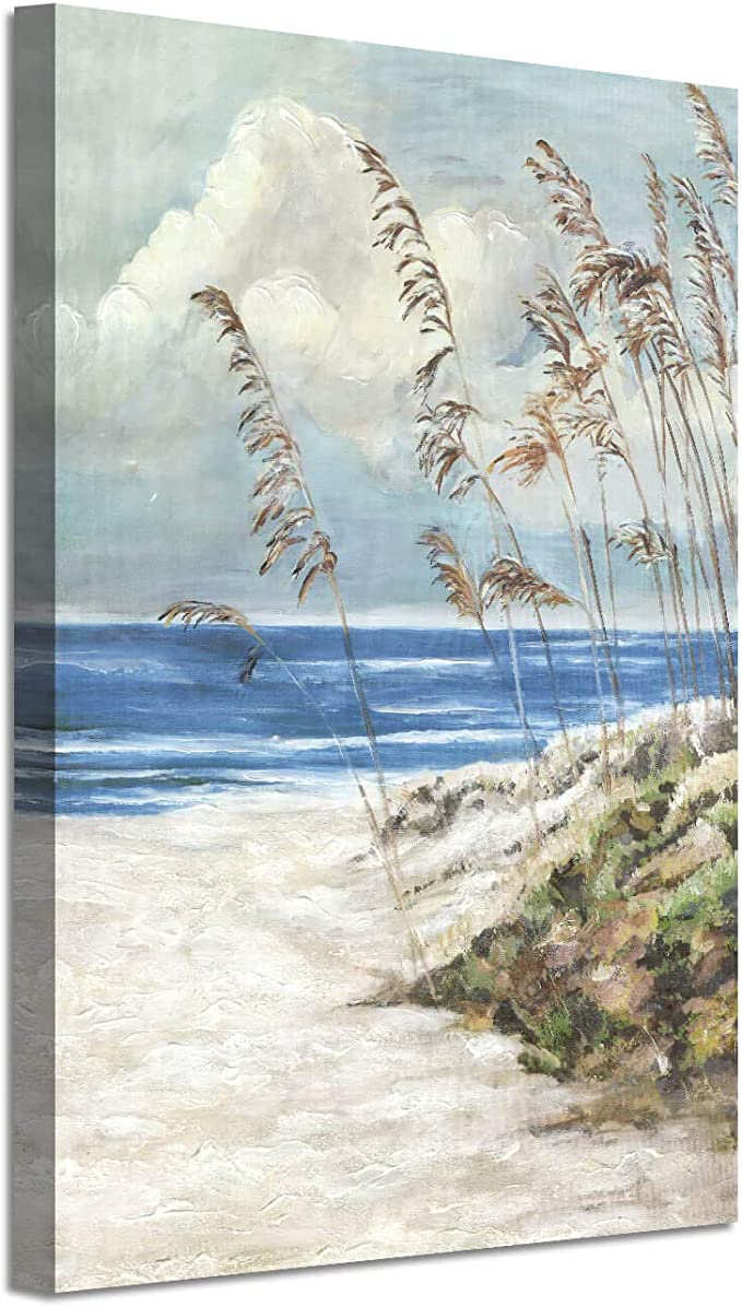 Abstract Beach Canvas Wall Art Seaside Artwork Hand Painted Painting Picture For Wall 36 X 24 X 1 Panel Amazon Co Uk Kitchen Home