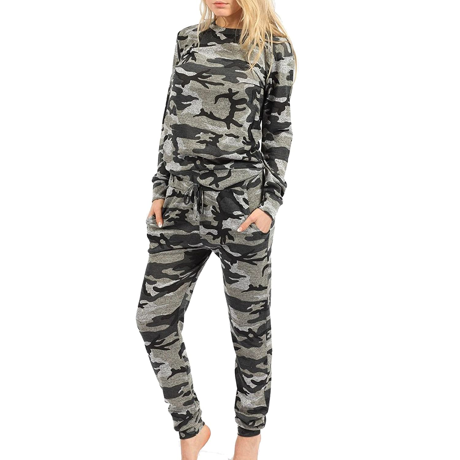 Girly Look OWASI ® Womens Ladies Grey Camouflage Long Sleeves Round Neck Two Piece Army Jogging Tracksuit Top 8-26