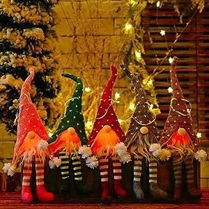 HLOMVE Christmas Gnomes with Warm Night Lights, Nordic Swedish Xmas Ornaments Scandinavian Santa Elf Gnomes Plush Doll for Christmas Tree Decorations, Holiday Party Hanging Decor Set of 4