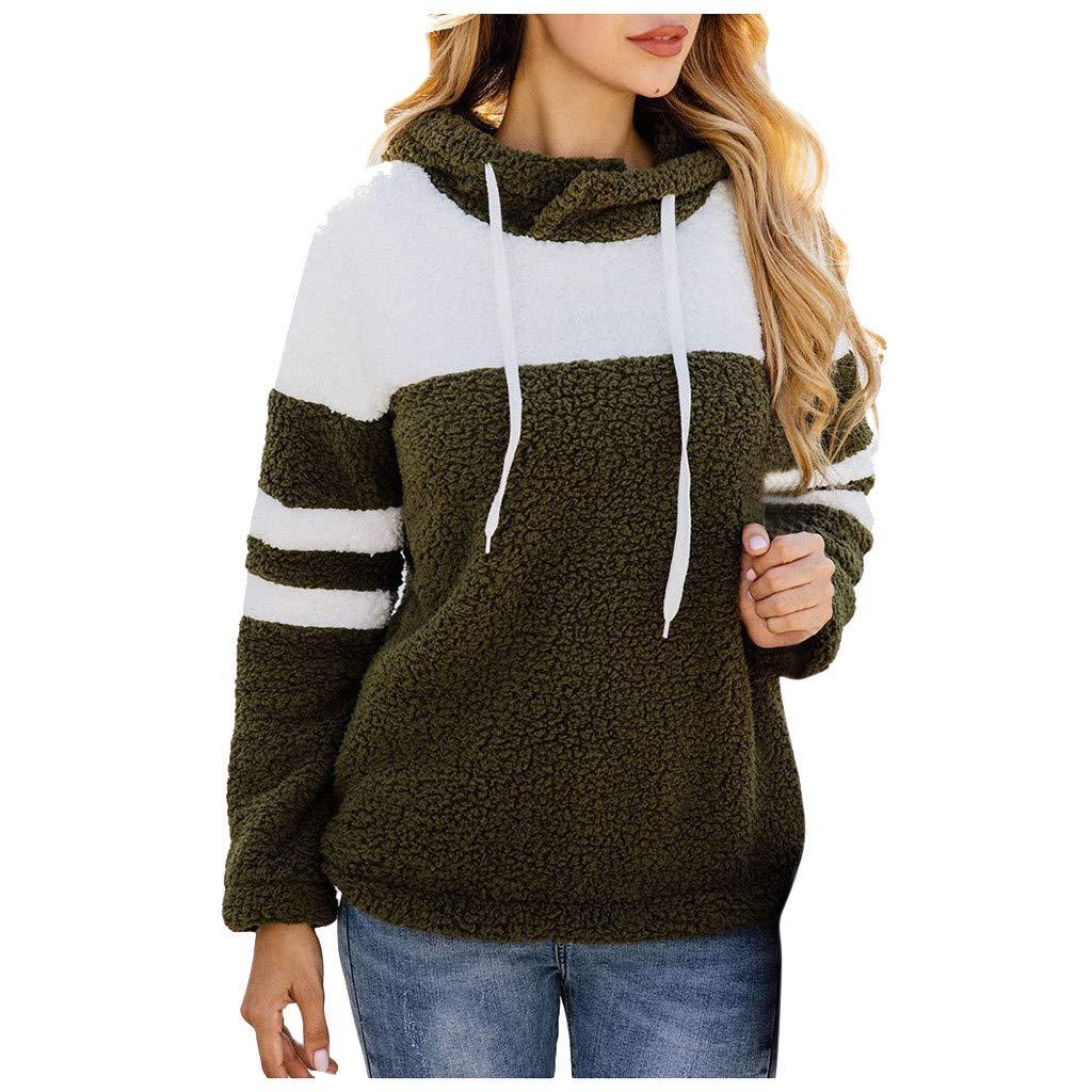 Women Faux Fur Fleece Long Sleeve Hoodie Sweatshirt Color-Block Warm Fuzzy Shaggy Pullover Tops Blouse by HNTDG by HNTDG