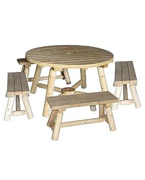 Table de jardin avec bancs,100% cèdre blanc, réf R6S, Cèdre ...