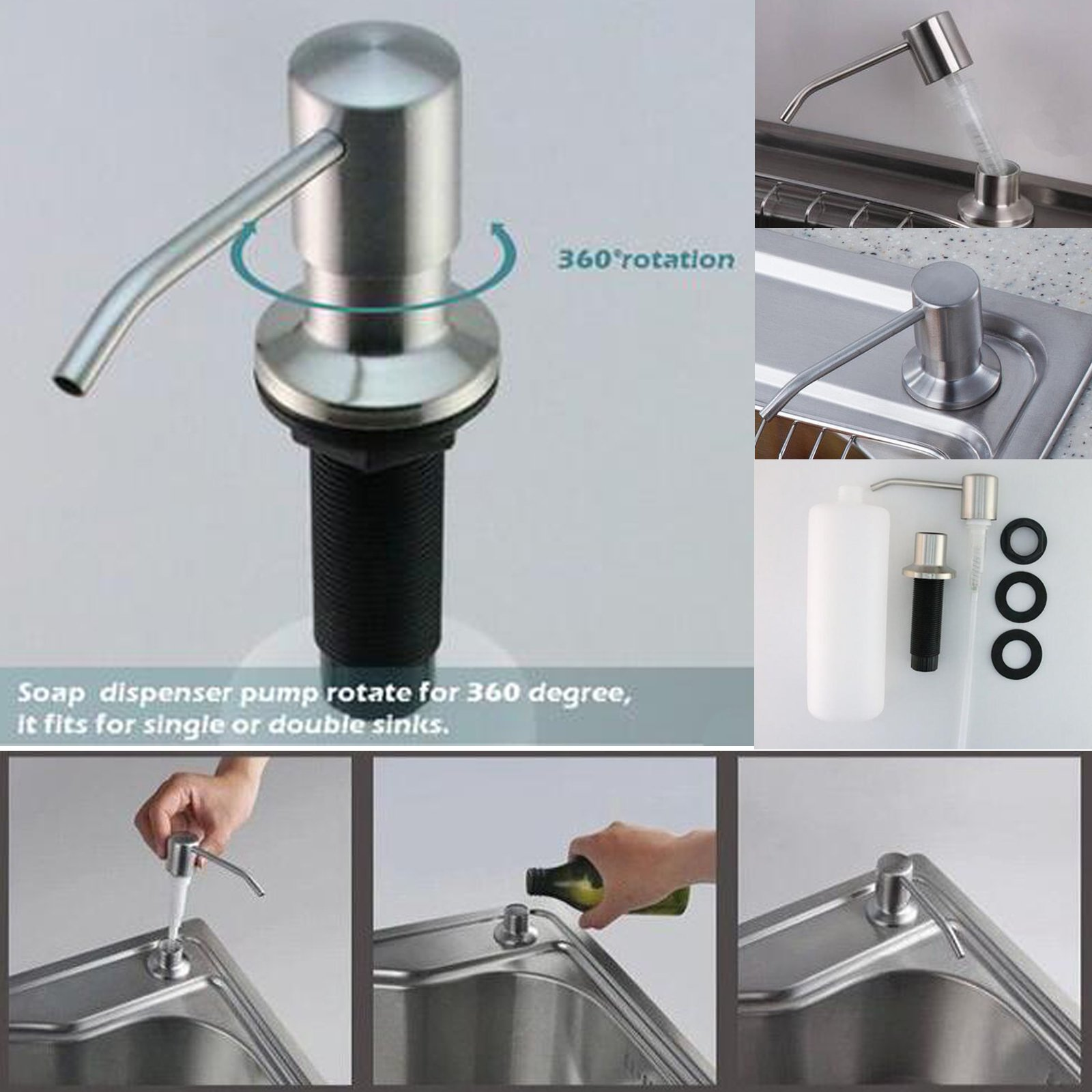 Stainless Steel Built In Pump Kitchen Sink Dish Soap Dispenser Large Capacity 17 Oz Bottle 3 15 Inch Threaded Tube For Thick Deck Installation