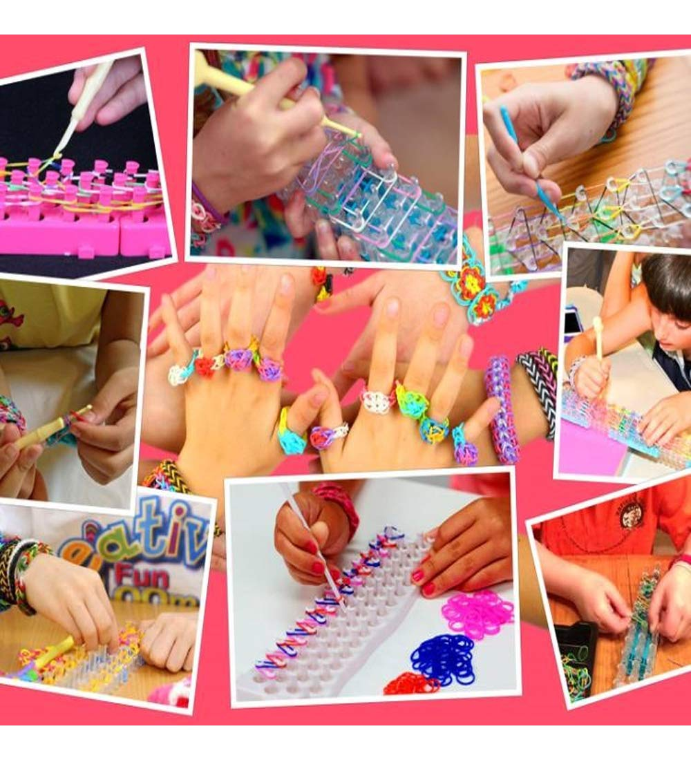 Rainbow Color Loom RubberBands Kit Colorful Bands Refill Bracelet Making Set Including6800 Pcs Rubber Loom Bands 200 Pcs Slips 100 Beads 15 Charms 8 Tools More for DIYWeaving Crafting by Bomach (Image #3)