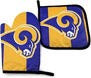 Oven Mitts and Pot Holders Sets Los Angeles Rams Wallpaper Heat Resistant Kitchen Gloves