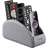TV Remote Control Holder with 5 Compartments,Pu Leather Remote Caddy/Box/Tray Bedside Table Desk Storage Organizer for…