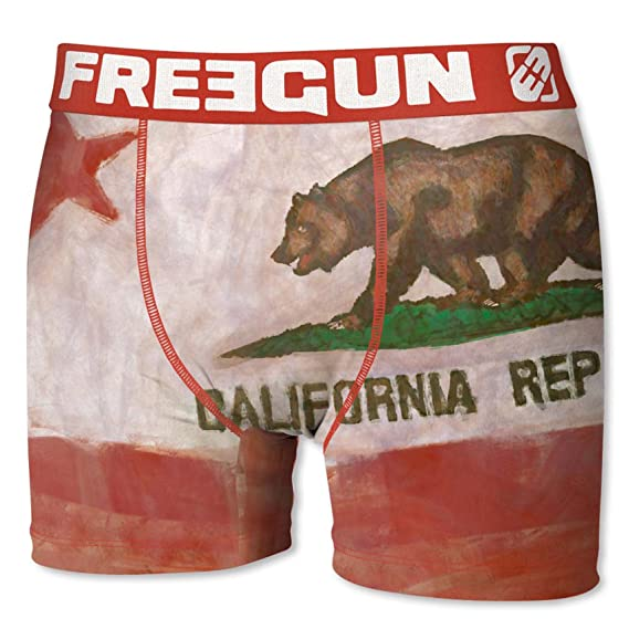 Freegun Bóxer para Hombre Bandera de California Bear Flag (S)