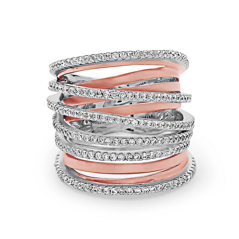 Stacked Pave Crystal Wire Ring | 925 Sterling Silver Ring Layered Pave Bands | Women's Silver Woven Wire Crystal Fashion Ring Thick | Rose Tone Sizes 6, 7, and 8 | Riley by Crush + Fancy