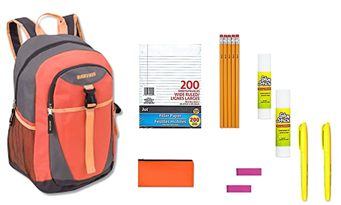 Back To School Backpack 11 Piece Bundle Includes Wide Ruled Filler Paper