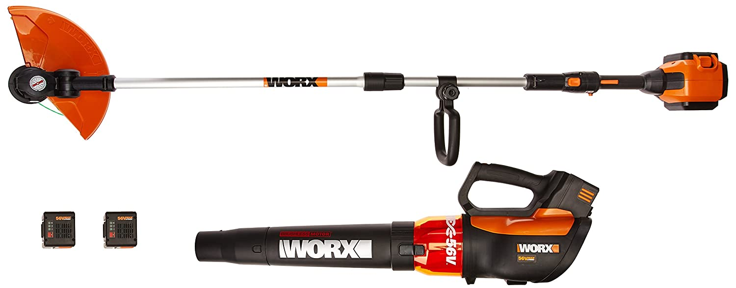 WORX WG926 Turbine 56V 13 Cordless String Trimmer Edger Leaf Blower Combo Kit