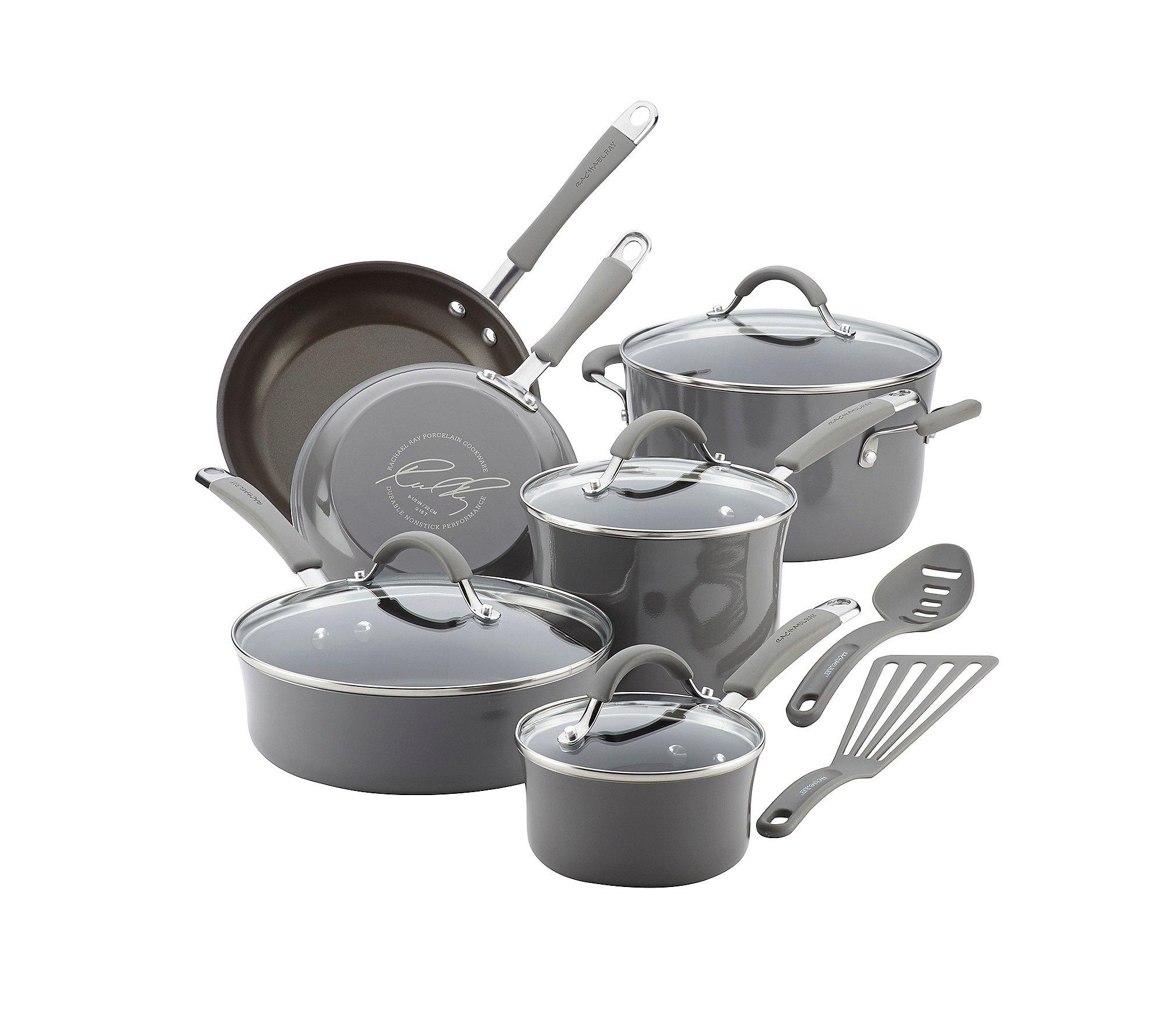 Rachael Ray Cucina Hard Porcelain Enamel Nonstick Cookware Set, 12-Piece 71dxqHwOo L