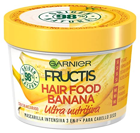 Garnier Fructis Hair Food Banana Mascarilla 3 en 1, 3 Recipientes de 390 ml -