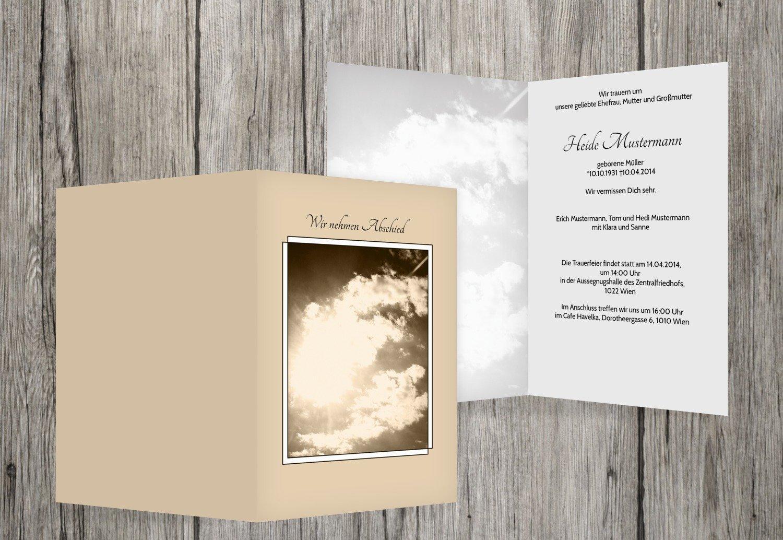 Tarjeta de luto Nubes, beige, 30 Karten