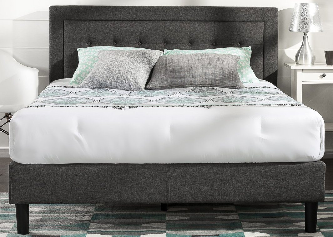 Zinus Upholstered Button Tufted Premium Platform Bed With Less Than 3 Inch  Spacing Wooden Slat Support, Queen
