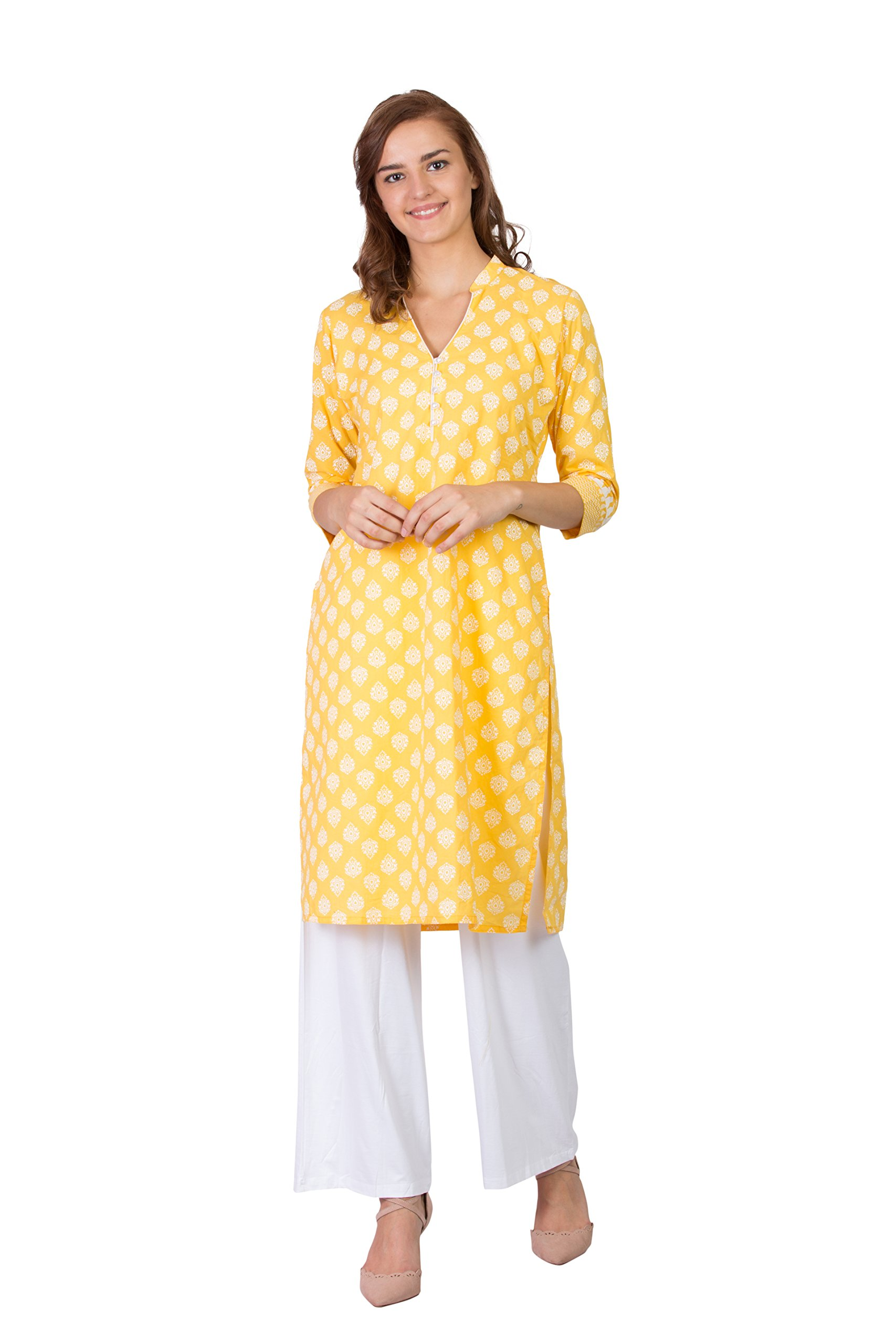 SABHYATA Women Kurta Designer Ethnic Long Dress Casual Tunic Kurti for Women Ladies Partywear Material 100% Pure Cotton Chinese Collar X-Large Yellow