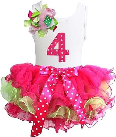 6th Birthday Tee 2pcs Dress Outfit Kirei Sui Girls Ruffled Tutu /& 1st