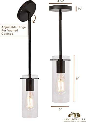 New Simple Modern Clear Glass Pendant Light Black Finish Contemporary Sleek Cylinder Design Clear Fixture