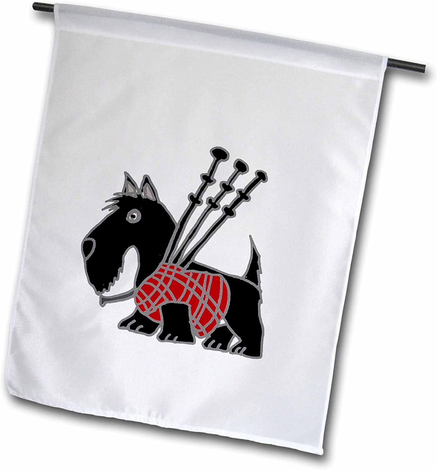 """3dRose Funny Scottish Terrier Playing The Bagpipes - Garden Flag, 12 by 18"""""""