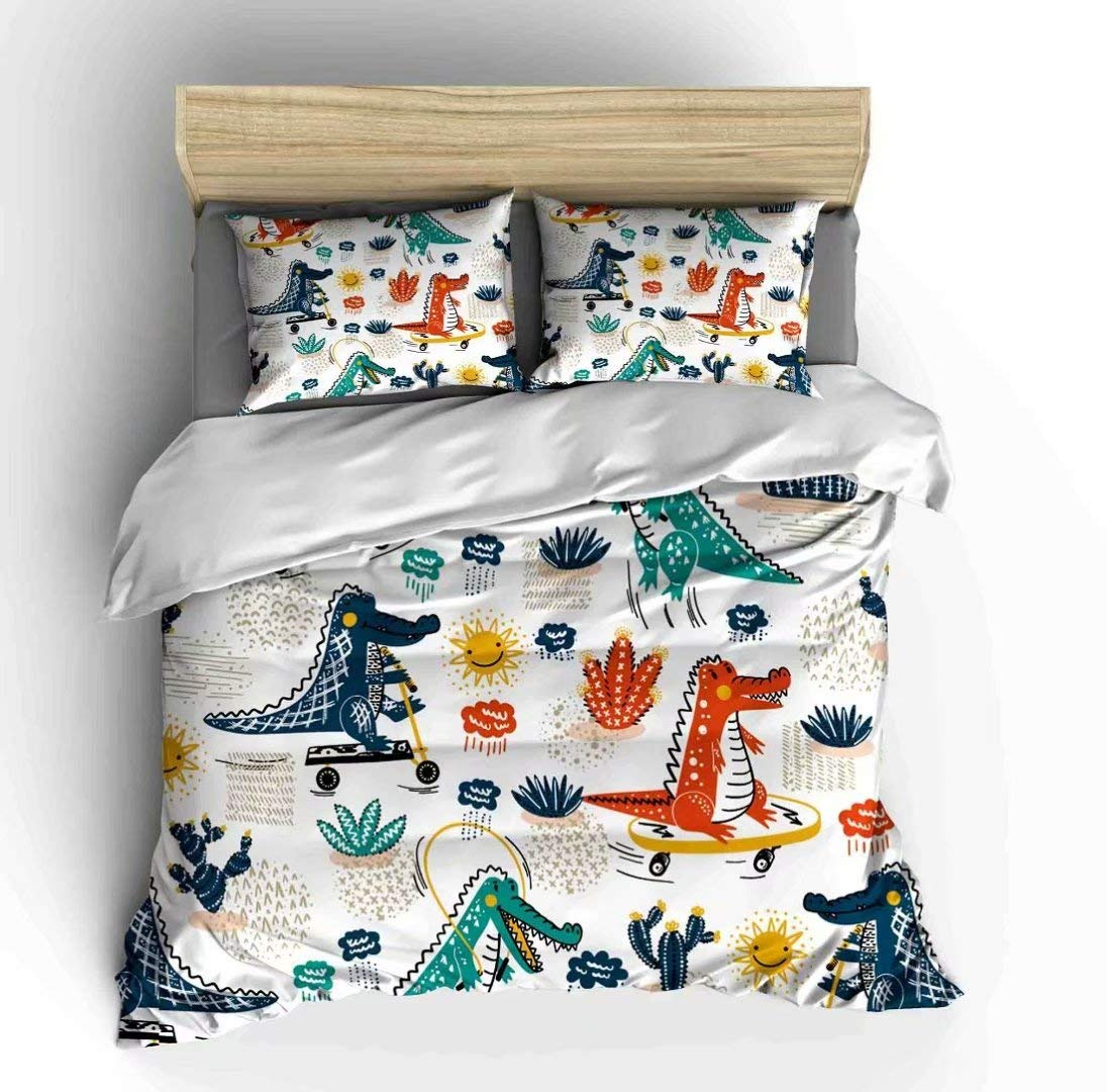 Vichonne Colorful Peacock Bedding Sets Twin Size,3 Piece Duvet Cover Sets for Teens Boys Girls Parrot Palm Tree Theme Decor,NO Comforter