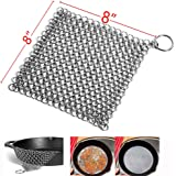 """Tpfox Cast Iron Cleaner 8"""" x 8"""" Premium Stainless Steel 316L Chainmail Scrubber for Cast Iron Pan Pre-Seasoned Pan Dutch Ovens Waffle Iron Pans Scraper Cast …"""