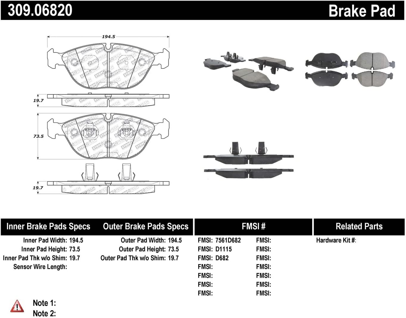 StopTech 309.06820 Street Performance Front Brake Pad