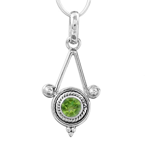 NOVICA .925 Sterling Silver and Peridot Pendant Necklace, 15.75 , Chennai Promise