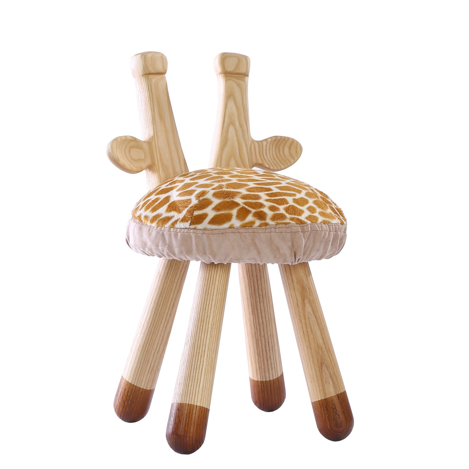 YouHi Children Solid Wood Stool with Memory Cotton Cushion Animal Appearance Modeling Chair for Reading and Eating (Giraffe)