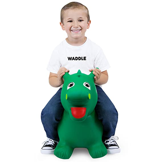 WADDLE Unisex Cute Riding Animal Hopper Green Dragon Inflatable Dinosaur Bouncing Ride On Toy Popular Jumping Hopping Kids Toys Bouncy Interactive Game for Toddlers Children Gift Idea for Active Boys