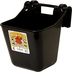 Little Giant Plastic Hook Over Feeder (Black) Heavy Duty Mountable Livestock & Pet Feed Bucket (12 Quart) (Item No. HF12BLACK)