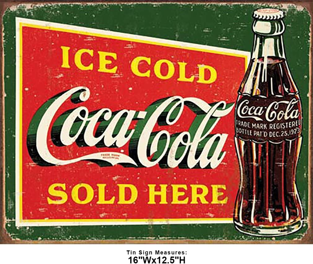 Coca-Cola Steel Retro Advertising Sign 5 Cents Ice Cold With Bottle Red
