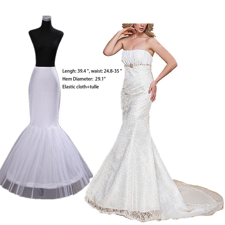 1 Hoop Mermaid Bridal Petticoat Half Slip Dress Underskirt P002