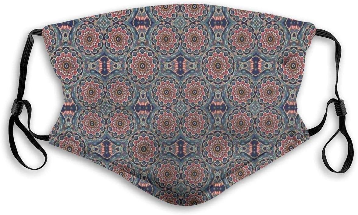 Cheyan Masque confortable coupe-vent Composition artistique orientale avec motifs floraux de lotus ethniques Yoga Th/ème imprim/é D/écorations faciales pour unisexe
