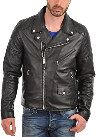 New Men Quilted Leather Jacket Soft Cow Leather Biker Bomber LFC710 XL