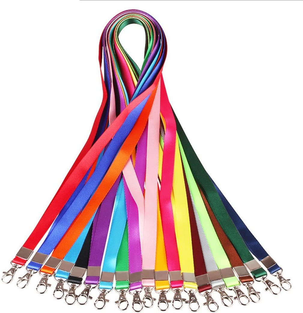 12Pcs Colorful Flat Polyester Neck Strap Lanyards with Clip for Office ID Name Tags Badge Holders
