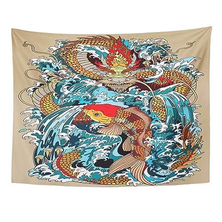 Tapiz de pared con diseño de dragón dorado y carpa de Koi que ...