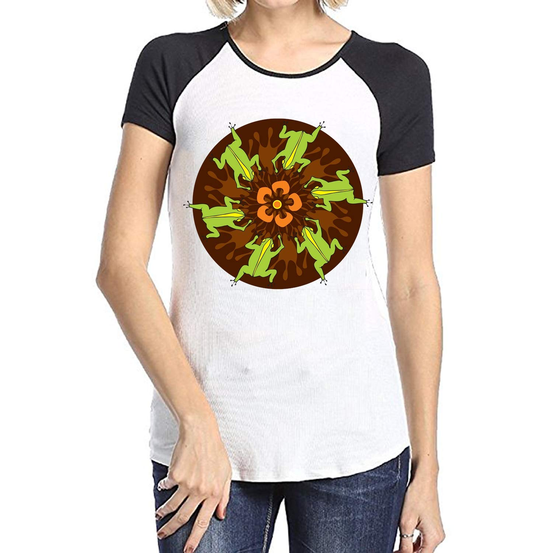 BLACKY Womens Geometric Pattern Short Sleeve Raglan Shirts