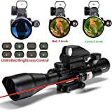 Spike Lunettes de visée airsoft Fusil tactique 4-12X50EG Portée avec arme Combo Holographic 4 réticule Sight & Red Laser Sight Chasse