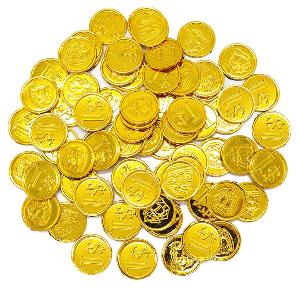 Tesoros Falsos de Oro Oscuro Juego para Favores de Fiesta Hellery 100 PCS de Monedas Doradas de Pl/ástico de Pirata