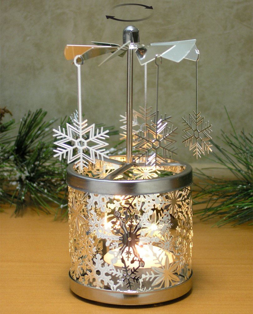 """""""Spinning Snowflakes Silver Candle Holder Scandinavian Design"""""""