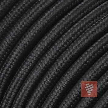 Stoffkabel Farbe Schwarz 2 adrig 2 x 0,75 mm² rund Textilkabel Meterware
