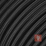Textilkabel für Lampe, Stoffkabel 3-adrig (3x0,75mm²) * Made in Europe * Schwarz - 3 Meter