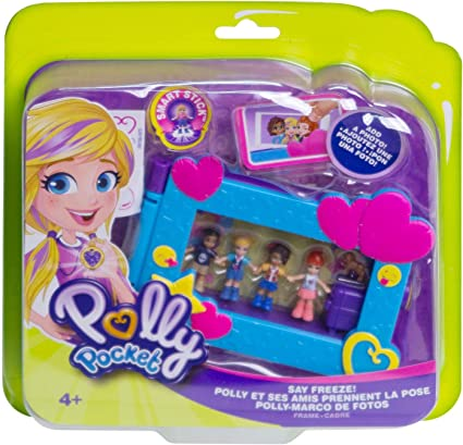Mattel Polly Pocket Say Freeze Picture Frame w// 4 Mini Figures Dog Newso cute